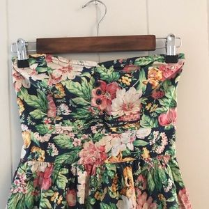 BeBop Strapless Floral Pink And Green Mini Dress